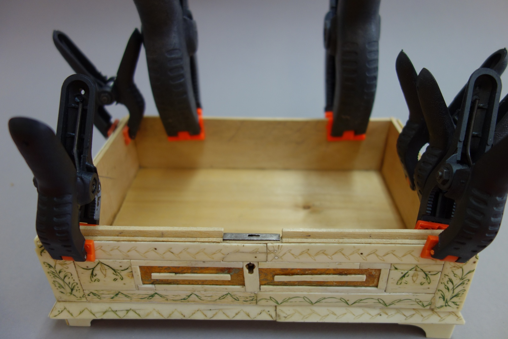 fig 15. To press the re-glued details clamps were used