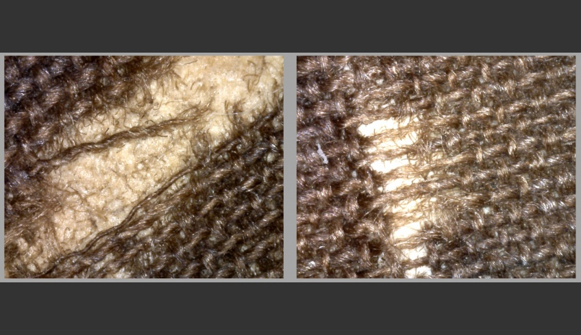 ill 18. Fibre-rips and thinning of the weft became visible under the microscope.