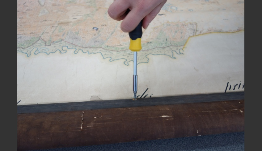 ill 22. The slats and fixing come from the 21st century – the top slat has been screwed on with wooden dowels that penetrate the original map.