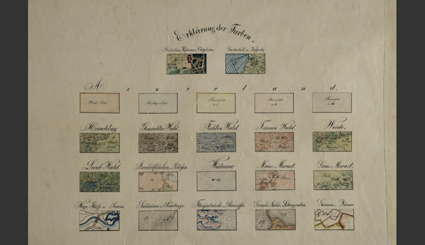 ill 6. The so-called Kabinettskarten are made for private owners to represent their estate and properties. Maps of this type are decorated and often present elements like titles, coats-of-arms, compass-roses, vignettes, tables and scales. These elements together with colouring make these maps imposing and presentable.