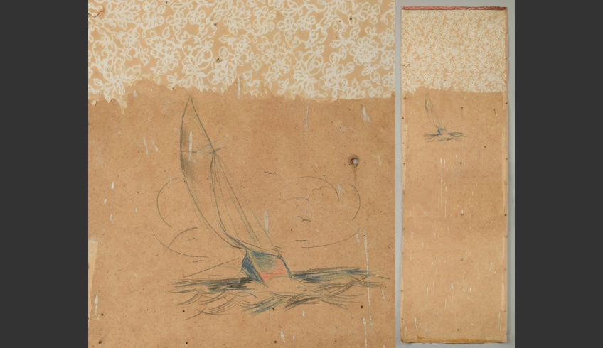 ill 22. Three cardboard strips (I-III, 200x70cm in size) were conserved in the Kanut. The drawing 'A sailing boat' was discovered on strip I